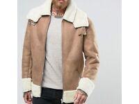 ASOS mens AVIATOR Shearling Jacket Small biker camel beige tan 36 S M borg teddy acne