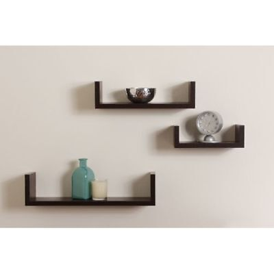 "Danya B XF11039 Brown Nesting ""U"" Wall Shelves - Set of 3"