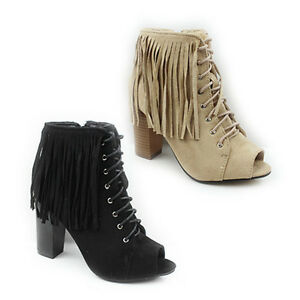 WOMENS-LADIES-PEEP-TOE-HIGH-BLOCK-HEEL-LACE-UP-TASSLE-ANKLE-BOOTS-SHOES-SIZE-3-8