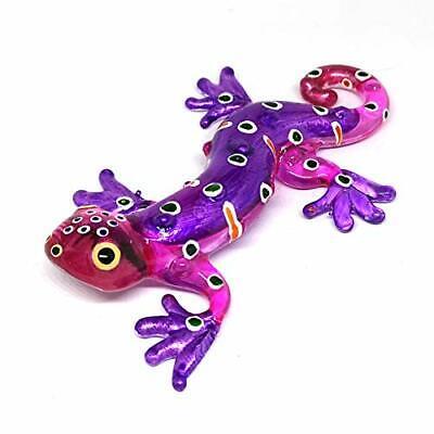 New Glass Purple Gecko Figurine Miniature Hand Blown Lampwork Animal Statue