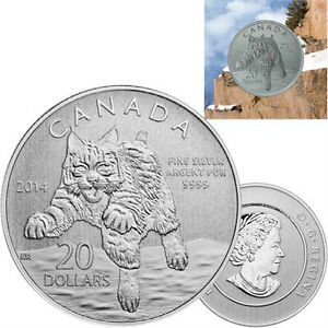 2014 $20 Fine Silver Coin (20 for 20 Series #12) - Bobcat