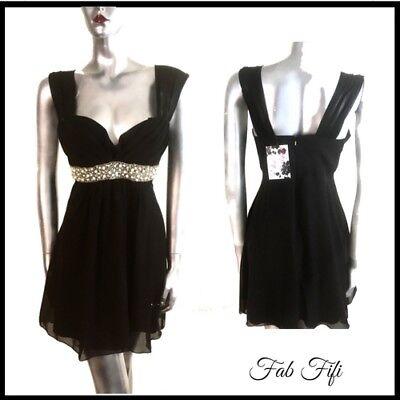 Black Party Dress Sweetheart Formal Beaded Chiffon Overlay Elise Ryan BNWT 14 Black Chiffon Sweetheart Beading