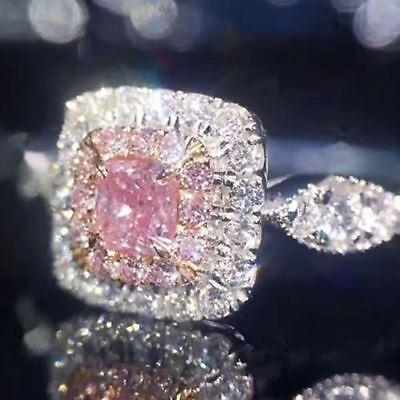 Shinning Princess Cut Pink Sapphire Diamond Paved Band Ring Women Jewelry