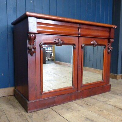 CARVED AND MIRRORED VICTORIAN MAHOGANY SIDEBOARD RWI4541