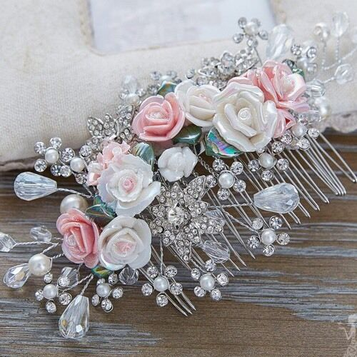 Bridesmaid Bridal Wedding Silver Austrian Crystal Pink & White Rose Hair Comb