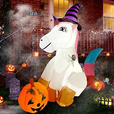 5ft Halloween Inflatable Unicorn with Magic Hat Pumpkin-LED Blow Up Lighted