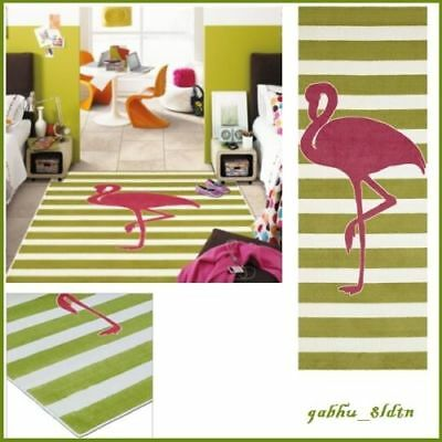 Hot Pink Carpet (Tropical Hot Pink Flamingo Area Rug Green Stripe Soft Vibrant Carpet 5' x)