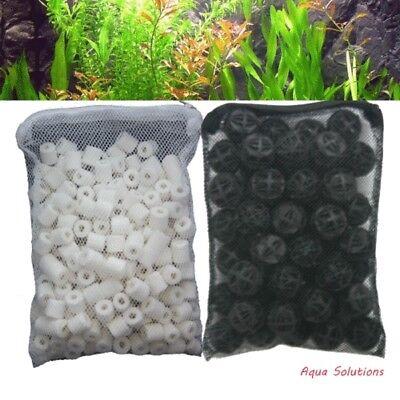 - 1 lb Ceramic Rings + 50 pcs Bio Balls in Media Bags for Aquarium Canister Filter