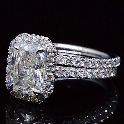 3.20 Ct. Natural Radiant Cut Halo Pave Diamond Engagement Wedding Ring Set GIA