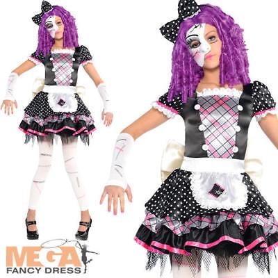 Damaged Broken Doll Girls Halloween Fancy Dress Kids Childrens Childs Costume  - Broken Doll Dress