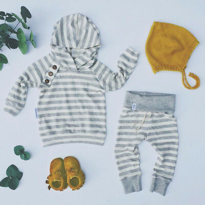US Stock Toddler Baby Boys Hoodie Tops Pants Home Outfits Set Clothes 2Pcs - Home Party Outfit