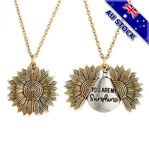 Jewellery - 18KGold Plated You Are My Sunshine Letter Sunflower Open Locket Pendant Necklace