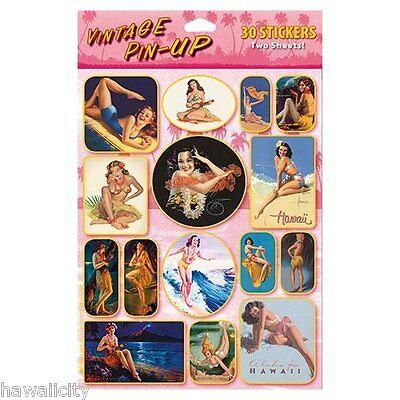 Hawaii Vintage Pin-Up Hula Girl 30 Piece Sticker Set