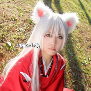 Inuyasha White Long 100CM Straight Hair Unisex Anime Party Cosplay Wig + Wig Cap