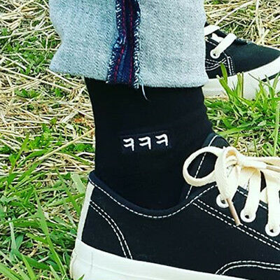 Korean Fashion Hangul Letters Embroidery Cotton Socks Black Color lol HaHaHa ㅋㅋㅋ