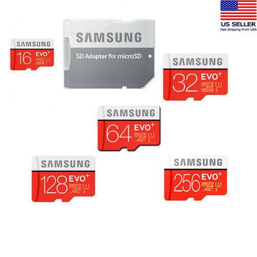 SAMSUNG EVO Plus 16 32 64 128 256GB MicroSD C10 Flash Memory