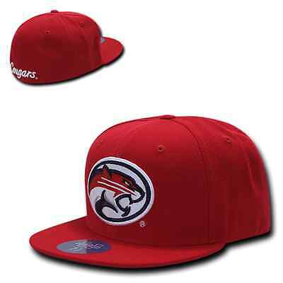Red University of Houston UH Cougars NCAA Fitted Flat Bill Baseball Cap Hat Houston Cougars Hat