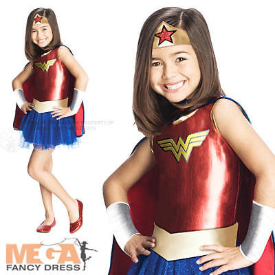 Wonder Woman Kids Fancy Dress Girl's Superhero Movie 80s Costume Outfit Ages 3-7