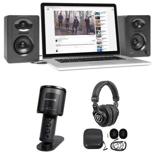 Beyerdynamic FOX USB Podcast Podcasting Microphone Mic+Stand+Headphones+Monitors