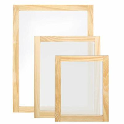 Caydo 3 Pieces 3 Size Wood Silk Screen Printing Frame With Mesh For Screen Pr...