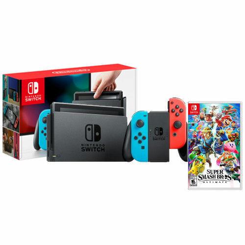 Nintendo Switch with Neon Joy-Con and Super Smash Bros Ultim