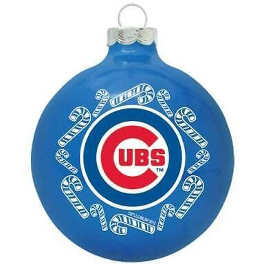 CHICAGO CUBS ~  Blue Team Logo Glass Ball Baseball Christmas