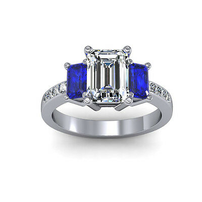 3.05 Ct. Three Stone Emerald w/ Blue Sapphire Engagement Ring 14k H, VVS1 GIA
