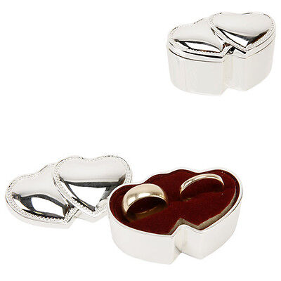 Wedding Ring Box Silver Plated Double Hearts Ring Bearer Box Cushion SF