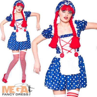 Cute Rag Doll Ladies Fancy Dress Dolly Womens Book Character Adults Costume New