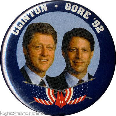 1992 Campaign Bill CLINTON Al GORE '92 Jugate Button (3719)