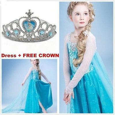 Frozen Elsa Costume Disney Princess Girls Child Fancy Outfit Long Dress+crown - Kids Disney Princess Costumes