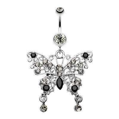 Black Butterfly Belly Button Ring - Fancy Gem Butterfly Belly Navel Button Ring Black Diamond/Black 14G