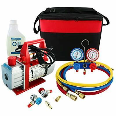 110V 3CFM 1/4HP Rotary Vacuum Pump HVAC A/C Refrigeration AC Manifold Gauge Set
