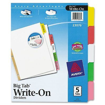 Avery Big Tab Write-on Divider With Erasable Tab - Write-on - 5 Tabsset -