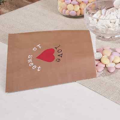 25 Papiertüten Candy Bar Candybar Hochzeit 'Love is sweet', braun