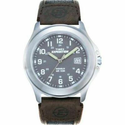 Timex Men's T40091 Expedition Metal Field Black/Brown Nylon/Leather Strap Watch