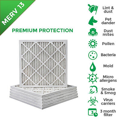 20x25x1 Merv 13 Pleated Ac Furnace Air Filters. 6 Pack