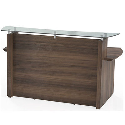 Modern Reception Desk Office With Glass Top Counter Receptionist Station - 72 W