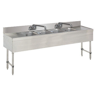Advance Tabco Slb-74c 4 Compartment 84 Underbar Sink W Drainboard Left Right