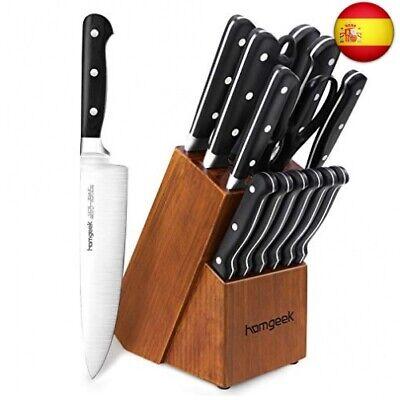 homgeek Cuchillos de Cocina 15 Piezas, Juego de Cuchillos Profesional Hecho de