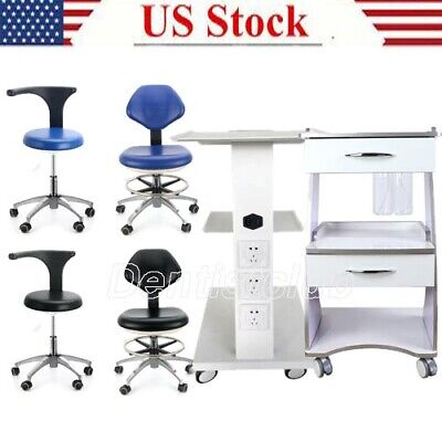 Mobile Dental Trolley Medical Tool Cart Dentist Rolling Chair Adjustable Height