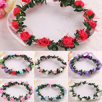 Rose Flower Crown Headband Wreath Party Wedding Bridal Garland Headwear Clever