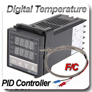 PID FC DIN Digital Temperature Control Thermocouple REX-C100+K Type Probe Sensor