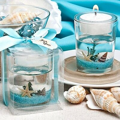 - 1 Beach Themed Wedding Candle Favor Gel Bridal Shower Favor Ocean Reef Tea Light