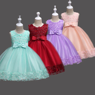 Lace Girls Dresses Flower Girl Kids Princess Birthday Pageant Wedding Tulle Gown ()