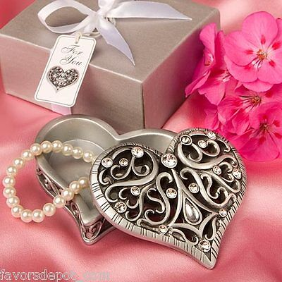 50  Heart Shaped Curio Box Gift Wedding Favor Bridal Shower Favors Party Favor (Heart Shaped Favor Boxes)