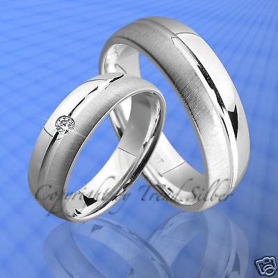 2 Ringe Trauringe , Eheringe m. Stein SILBER 925  J84-1 ()