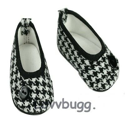 Houndstooth Ballet Flats for American Girl 18 inch or Bitty Baby 15 inch Doll Shoes Clothes