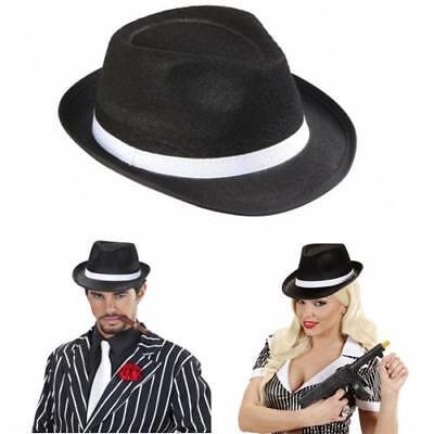Gangster Hut schwarz Hut Al Capone Kostüm Damen Damenhut Mafiahut (Schwarz Gangster)