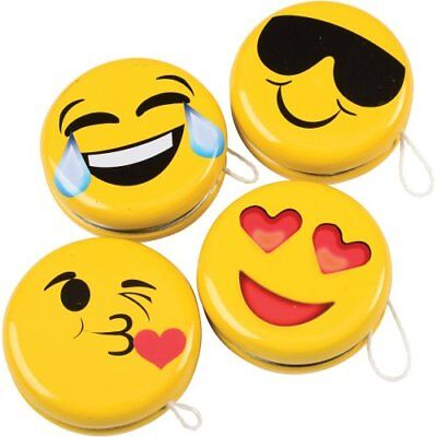 12 Emoji Smiley Face Yo-Yos Party Goody Loot Bag Toy Filler Favor Supply - Emoji Smiley Face